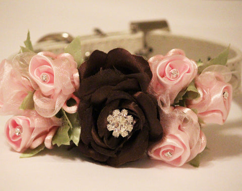 Brown Pink Floral Dog Collar, Pet Wedding Accessory, Brown and Pink Wedding, Flower with Rhinestones, Dog Lovers