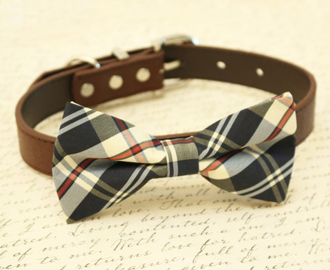 Plaid Burly wood dog bow tie attached to collar, Dog lovers, dog birthday , Wedding dog collar