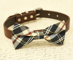 Plaid Burly wood dog bow tie, Bow attached to brown collar, Dog lovers, dog birthday gift, gift, Brown dog collar, Pet accessory - LA Dog Store  - 1