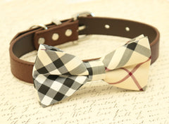 Plaid Burly wood bow tie, Bow Tie attached to brown collar, Chic Dog Bow tie, Dog lovers, dog birthday gift, gift, Brown dog collar - LA Dog Store  - 1