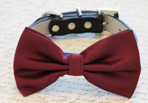 Burgundy Dog Bow Tie attached to collar, Pet wedding accessory, Dog lovers