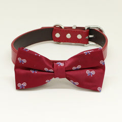 Red Dog Bow Tie Collar, Red dog collar,Handmade, Bicycle , Wedding dog collar