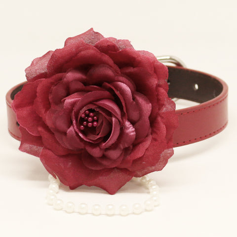Burgundy Floral dog collar, Rose, Flower beaded collar