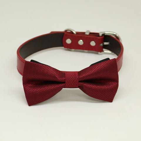 Red Dog Bow Tie Collar, Red leather dog collar,Handmade , Wedding dog collar