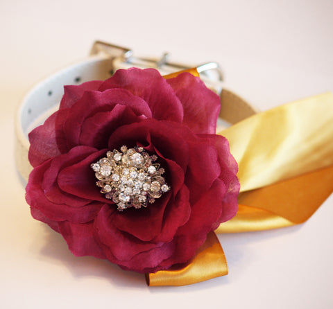 Burgundy Gold Floral dog collar, Burgundy Wedding, color of the year