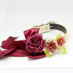 Burgundy Rose Floral Dog Collar, Pet Wedding, Flowers, Handmade, Puppy Love