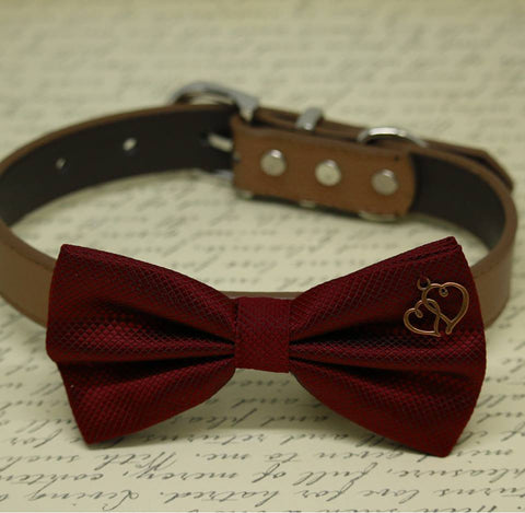 Burgundy Dog Bow tie Collar, Double Heart, Dog Lovers, Pet wedding Accessory, Dog birthday gift