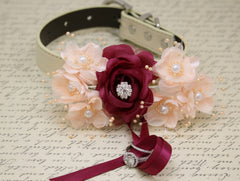 Burgundy Peach Ring Bearer Dog Collar wedding with pearls and Rhinestone