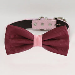 Burgundy blush bow tie collar, handmade Puppy bow tie, XS to XXL collar and bow adjustable dog of honor ring bearer