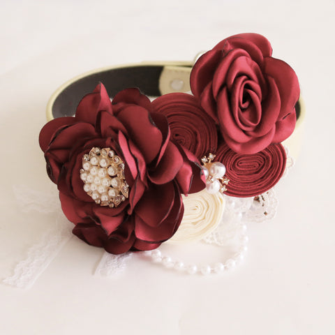 Handmade burgundy Flower dog collar, Beaded pearl rose flower, leather collar, Dog of honor proposal M to XXL collar, Puppy Girl adjustable collar , Wedding dog collar
