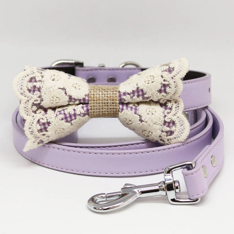 Dog Bow Tie collar and Leash, Purple Lace Burlap Bow tie, Lilac Leash, Handmade, Pet wedding, Dog Lovers