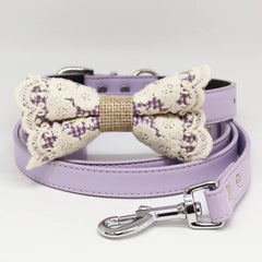 Dog Bow Tie collar and Leash, Purple Lace Burlap Bow tie, Lilac Leash, Handmade, Pet wedding, Dog Lovers , Wedding dog collar