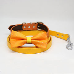 Burnt Orange and Yellow Bow tie Dog collar Citrus Leash, Handmade, Puppy Gift, Pets wedding