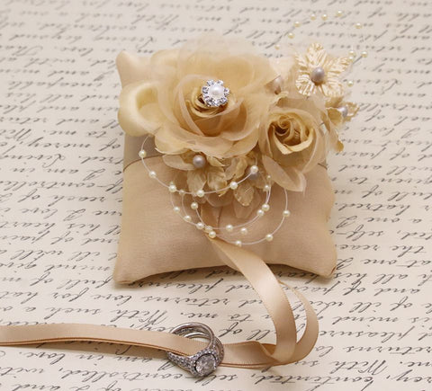 Champagne Ring Pillow attach to Collar Wedding, Floral Champagne Wedding
