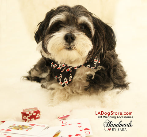 Alice In Wonderland dog bow tie, Ace, Playing card, Red and Black, collar