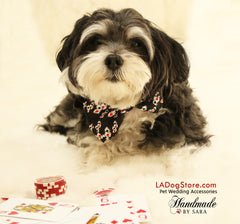 Dog bow tie, bow attached to dog collar, Red Hearts Diamonds,Poker, Alice In Wonderland, Dog lovers, Ace, Playing card, Red and Black - LA Dog Store  - 1