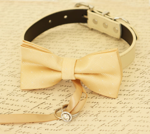 Champagne Dog Bow Tie ring bearer, Pet Wedding accessory, Champagne wedding , Wedding dog collar