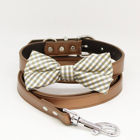 Champagne Plaid Dog Bow Tie, Copper Collar Leash, Handmade Gifts, Puppy Love