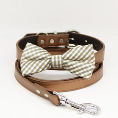 Champagne Plaid Dog Bow Tie, Copper Collar Leash, Handmade Gifts, Puppy Love , Wedding dog collar