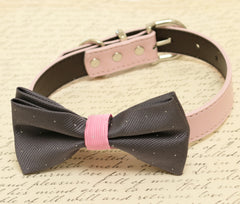 Charcoal Dog Bow Tie,Bow attached to dog collar, Pet wedding accessory, Dog Lovers, wedding idea, Charcoal Wedding accessory, Dog collar - LA Dog Store  - 1