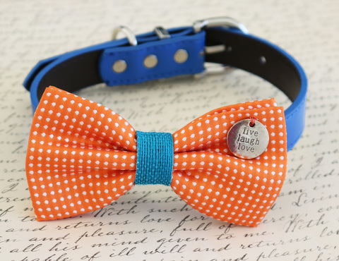 Polka dots orange dog bow tie with charm attached to collar, dog birthday gift