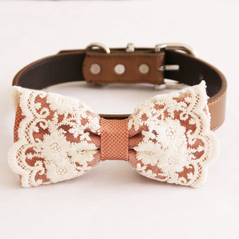 Copper lace bow tie dog collar  girl collar, M to XXL Collar, dog of honor ring bearer, Handmade adjustable collar