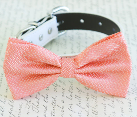 Coral dog Bow tie attached to collar, Coral wedding, Coral bow, Dog lovers, Coral