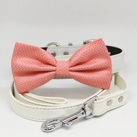 Dog Coral Bow tie collar leash, Handmade, Dog of honor, Pet collar wedding