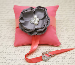 Gray and Coral Ring Pillow attach to Dog Collar, Floral Wedding, Gray Coral Wedding