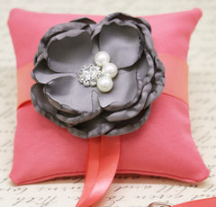Gray and Coral Ring Pillow attach to Dog Collar, Floral Wedding, Gray Coral Wedding , Wedding dog collar