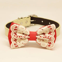 Coral Lace Dog Bow Tie, Pet Wedding collar, one of a kind handmade , Wedding dog collar