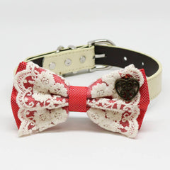 Coral dog bow tie collar, Lace, Charm Heart, Puppy Gift, Pet wedding accessory, Country Rustic , Wedding dog collar