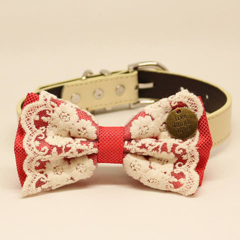 Coral dog bow tie collar, Lace, Live Laugh Love, Puppy Gift, Pet wedding accessory