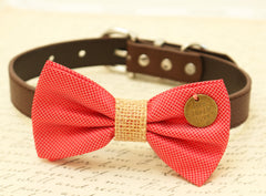 Coral Dog Bow Tie, Bow tie attached to brown dog collar, Burlap, Coral wedding accessory, Christmas gift, Cat Bow tie,Country Rustic wedding - LA Dog Store  - 1