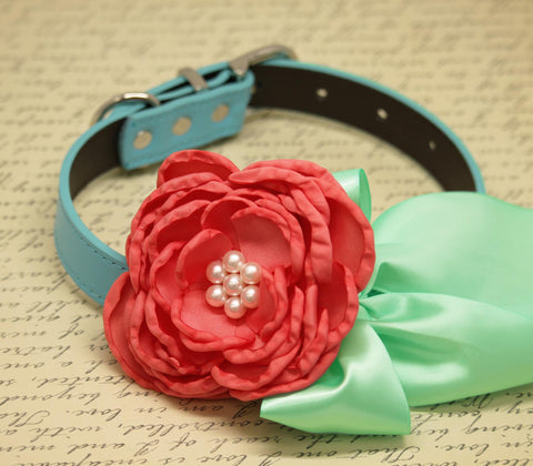 Coral Mint Green Dog Collar, Floral Coral pet wedding, Mint Green beach wedding