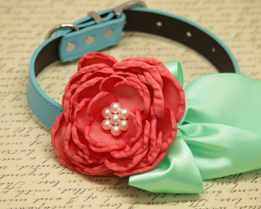 Coral Mint Green Dog Collar, Floral Coral pet wedding, Mint Green ...