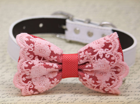 Coral Pink Lace Bow tie attached to dog Collar, Coral Wedding, Dog birthday gift