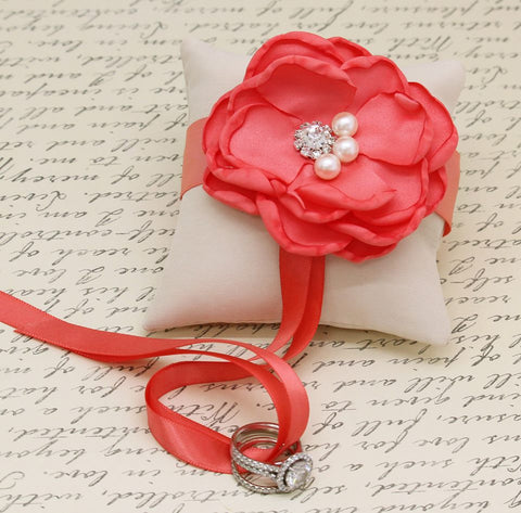 Coral Ivory Ring Pillow, Dog Ring Bearer, Coral Pillow attach to Collar, Coral wedding , Wedding dog collar