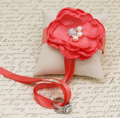 Coral Ivory Ring Pillow, Dog Ring Bearer, Coral Pillow attach to Collar, Coral wedding