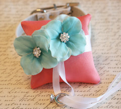Coral and Aqua Ring Pillow, Dog Ring Bearer, Pillow attach to white Leather Collar, Aqua and coral wedding, beach wedding, dog lovers - LA Dog Store  - 1