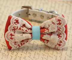 Coral and blue wedding dog collar, Coral Dog Bow Tie, Pet Wedding accessory, Vintage wedding, beach wedding, country wedding, Dog Lovers - LA Dog Store  - 1