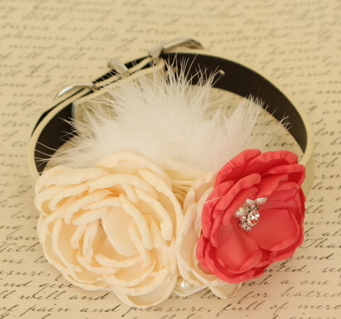 Coral Floral dog collar, Coral and Ivory dog collar, Pet wedding accessory