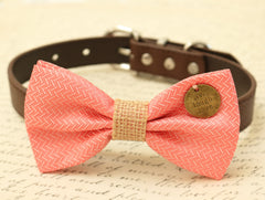 Coral Dog Bow Tie, Coral Bow attached to brown dog collar, Pet wedding accessory,Coral wedding, Burlap wedding, Dog lovers, Charm, Love - LA Dog Store  - 1