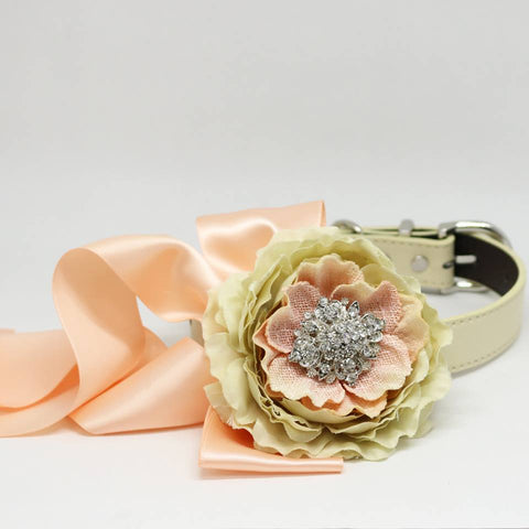Champagne and Blush Wedding Dog Collar, Pet Floral dog collar, Burlap wedding, Choker Necklaces , Wedding dog collar