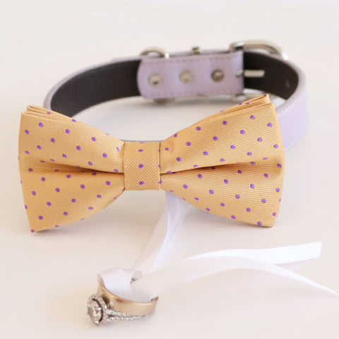 Cream lavender bow tie collar Leather collar dog of honor ring bearer bow tie adjustable handmade XS to XXL collar and bow Proposal , Wedding dog collar