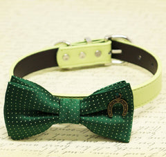 Dark Green with Dots Dog Bow tie collar, birthday gift, Pet wedding, Charm (Horseshoe Good Luck), Puppy Love , Wedding dog collar