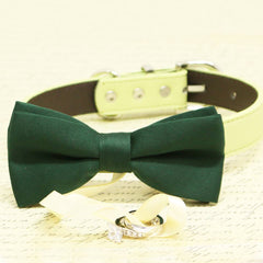 Dark Green Dog Bow Tie Collar, Ring Bearer, Pet Wedding, Proposal, Will you Marry me? , Wedding dog collar