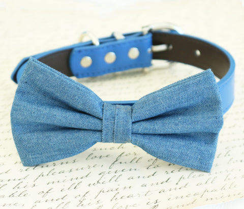 Denim dog Bow tie attached to collar, Wedding, Dog birthday, dog lovers