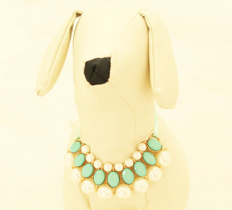 Mint green Pearl and Rhinestone Dog jewelry- Pet accessories , Wedding dog collar