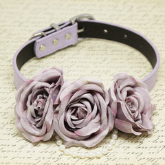 Dusty Lavender Floral dog Collar, Flowers and Pearls, Wedding pets accessory